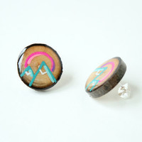 Painted Wooden Branch Slice Post Earrings in Turquoise Mountains