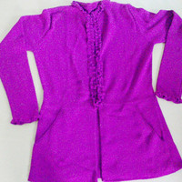 Peruvian Design Alpaca Wool Ruffle Cardigan for Women.