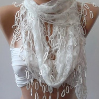 Scarf -White  lace and Elegance Shawl -Scarf -- with Lace Edge---