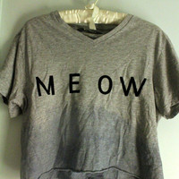 Gray and Blue Dip-dyed &#x27;Meow&#x27; T-Shirt