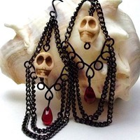 Halloween Skull Earrings Black and Red Gothic Chain Dangle Earrings