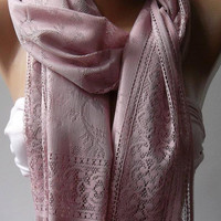 Scarf with Lacy Edge Pink  - Elegance  Scarf -Shawl