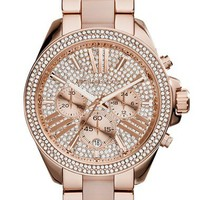Women's Michael Kors 'Wren' Pave Chronograph Acetate Link Bracelet Watch, 42mm