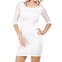 Ivory Lace Mini Fitted Dress