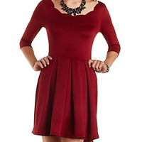 Scalloped Neck Pleated Skater Dress by Charlotte Russe - Wine