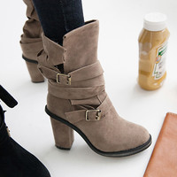 Strapped Suede Motorcycle Boots