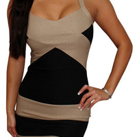 County Line (Tan/Black)-Great Glam is the web's top online shop for trendy clubbin styles, fashionable party dress and bar wear, super hot clubbing clothing, stylish going out shirt, partying clothes, super cute and sexy club fashions, halter and tube top