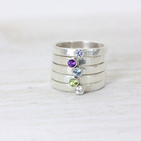 Birthstone Gemstone Sterling Silver Stack Rings - Gift Ideas - Stocking Stuffers - Listing for One Ring