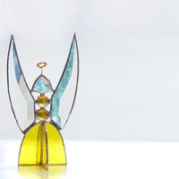 Guardian Angel Yellow Beveled Stained Glass by FleetingStillness