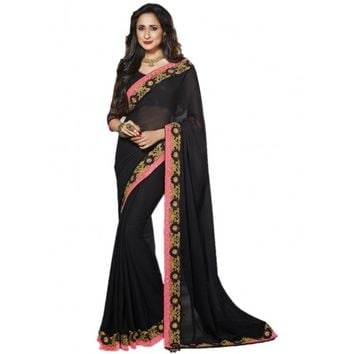 Vivacious Black Chiffon Indian Saree - TheEthnicWear