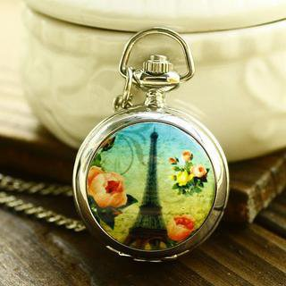 YESSTYLE: Cuteberry- Printed Pendant Watch (Silver - One Size) - Free International Shipping on orders over $150