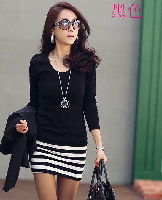 Black Long Sleeve Striped Bodycon Dress at Online Apparel Store Gofavor