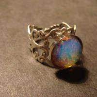 Fire Opal Antique Silver Filigree Ring- Adjustable (478)