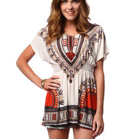 Papaya Clothing Online :: ELASTIC WAIST ETHNIC PRINT DRESS