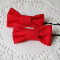 Two Red Mini Hair Bows