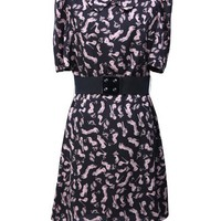 Women New Summer Style Fashion Print Doll Neckline Multi-Coloured Short Sleeve Slim Skirt One Size@WY2211 $36.99 only in eFexcity.com.
