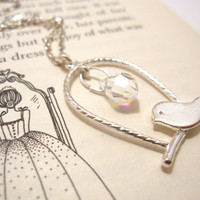 Bird on Swing Necklace - Cute Romantic Necklace