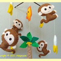 Hanging Mobile Monkey in tropical Jungle theme by hingmade