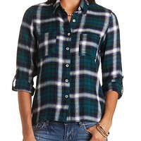 High-Low Button-Up Plaid Top by Charlotte Russe - Navy Combo