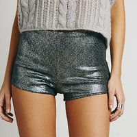 Free People Womens Sequin High Rise Short - Pewter