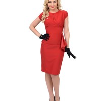 1940s Style Red Bernadette Pencil Dress