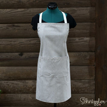 Apron in Navy Blue and Cream Ticking Stripe with Pocket for Cooking / Baking / Art / Crafts