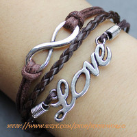 Ture love will go on bracelet silver love bracelet infinity wish bracelet karma bracelet-N563