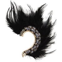 Tan/Grey BCBG Feather and Stone Ear Cuff - Right