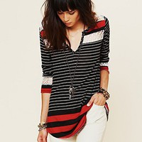 Free People Stripe Crochet Tee