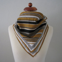 Vintage Shimmering Bronze and Black Striped Square Scarf