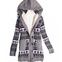 Grey Knitting House Hoddies Heavy Sweater @T606g