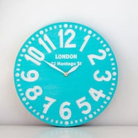 Vintage clock -London turquoise- pseudo vintage birch clock hand painted  happy fresh turqouise color