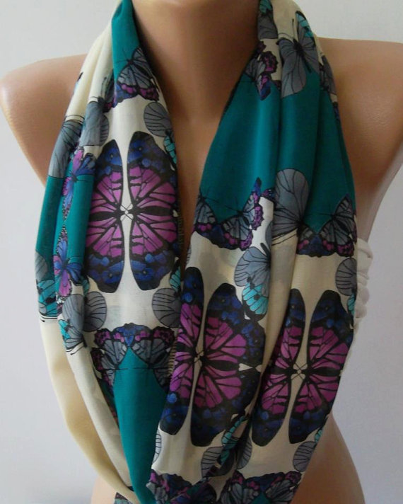 Infinity Scarf Loop Scarf Circle Scarf - It made with good quality chiffon fabric. Butterfly Patterned....Super  Loop