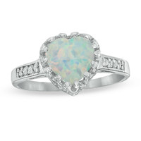 8.0mm Heart-Shaped Lab-Created Opal and White Topaz Crown Ring in Sterling Silver