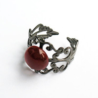 Carnelian Filigree Ring  - Gunmetal Vintage-Style Filigree Ring with 10mm Carnelian Cabochon, Adjustable