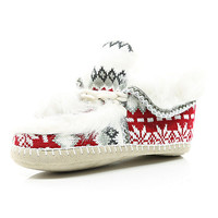River Island Womens Cream fair isle faux fur lined moccasin boots