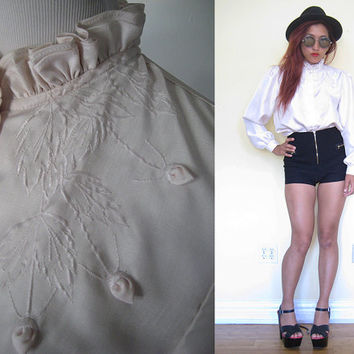 Vintage 60's 70's light pink embroidered button down secretary shirt long sleeves puff sleeves