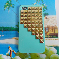 iphone golden pyramid stud blue Hard Case Cover For Apple iPhone 4,4S ,iPhone 4 Case, iPhone 4s Case, iPhone 4 Hard Case,  case-0193