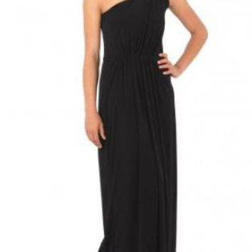 Noir Black One Shoulder Maxi Dress
