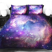 Anlye Galaxy Quilt Cover Galaxy Duvet Cover Galaxy Sheets Space Sheets Outer Space Bedding Set with 2 Matching Pillow Covers (FULL)