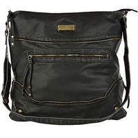 black oversized cross body messenger bag