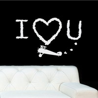 36x22  I love you Clouds Airplane  Door Decoration Vinyl Decor Wall Lettering Words Quotes Decals Art Custom Willow Creek Signs