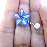 Purple Green Tropical Hawaiian Flower Plumeria Belly Button Ring Hawaii Navel Stud Jewelry Bar Barbell Piercing Tropical Hibiscus Orchid