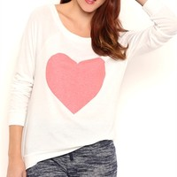 Long Sleeve Ballet Neck Top with Heart Screen and Banded Bottom