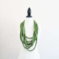 Crochet Chain Scarf Infinity Crochet Winter Shamrock Green Jersey Style Layered Chunky