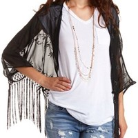 Embroidered Fringe Kimono Top by Charlotte Russe - Black