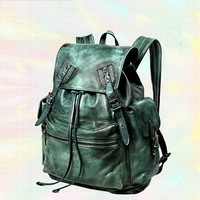 Moto distressed leather backpack for women Ancient green - $398.00 : Notlie handbags, Original design messenger bags and backpack etc