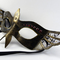 Aged Gold and Black Lace wing bird mask for Masked Ball, cospaly, holiday gift, Wedding Elegance