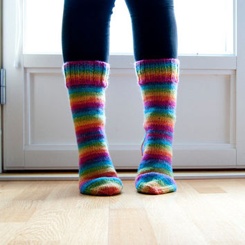 Hand knitted socks in neon rainbow colors. Warm wool blend socks. Pink, yellow, orange, green, turquoise.