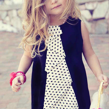 Girls  Black Jumper Dress with Polka Dot Cascading Flounce Ruffle